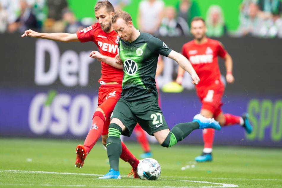 Der Wolfsburger Maximilian Arnold traf in der 16. Minute zum 1:0 gegen den 1. FC Köln.