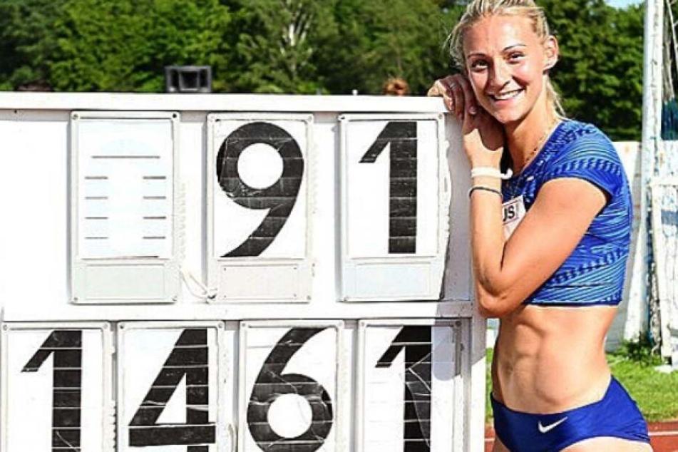 Letzter Versuch beim Springer-Meeting in Garbsen. Kristin Gierisch vom LAC Chemnitz springt neue deutschen Rekord.