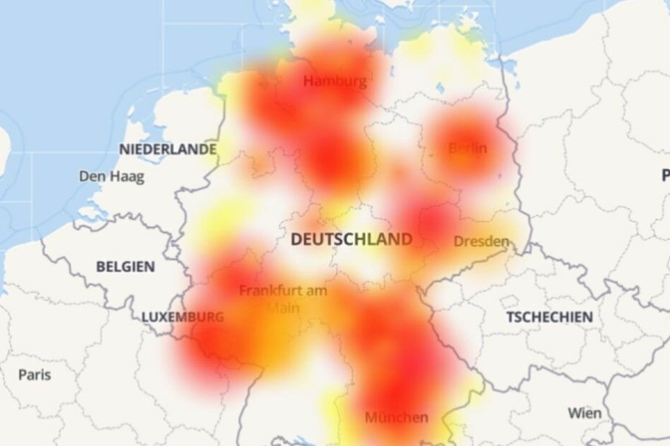Die Karte zeigt das ganze Ausmaß der Störung.