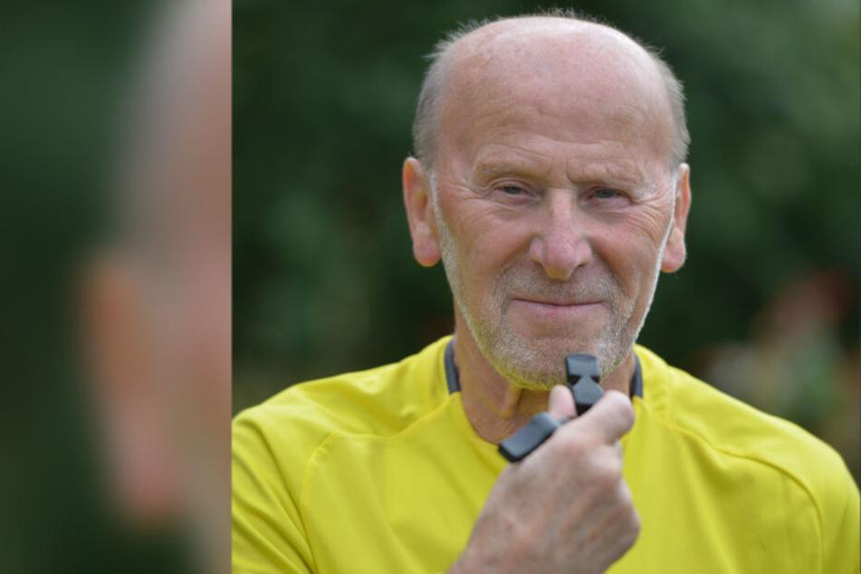 Kurt Müller (85) ist Sachsens ältester aktiver Fußball-Schiedsrichter.