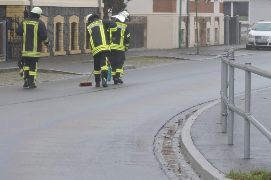 Kameraden säubern eine Straße im Muldental. Möglicherweise hatte ein defekter Bus hier große Mengen Diesel verloren.