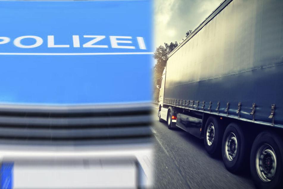 Fotomontage: Als ein Streifenwagen versuchte, den Fahrer zu stoppen, habe dieser das Polizeiauto mit seinem Lastwagen in die Mittelleitplanke geschoben (Symbolbild).
