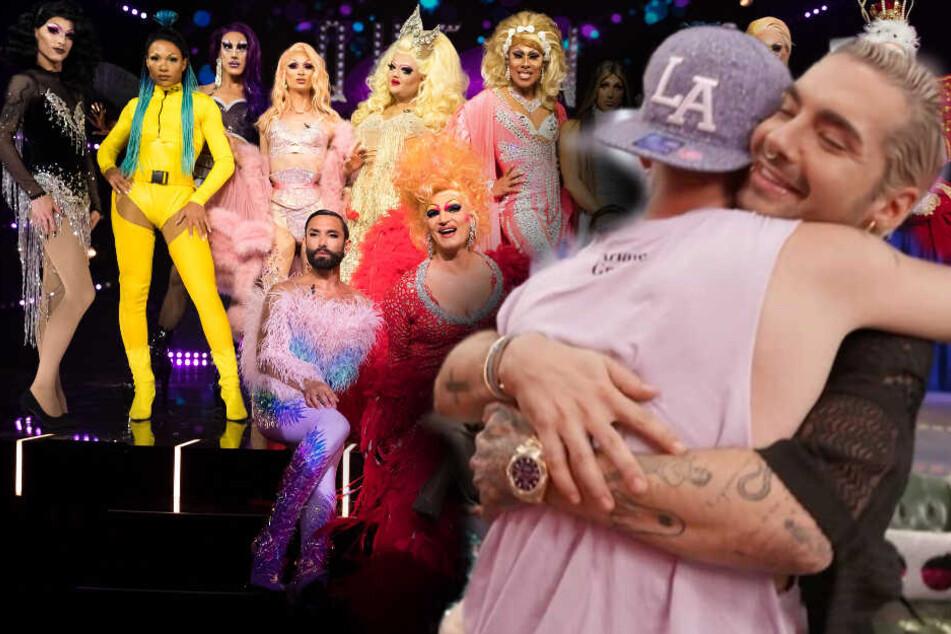 """Bill Kaulitz (30, r) und Burak Bildik (27) alias """"Katy Bähm"""" verbrachten eine besonders emotionale Folge."""