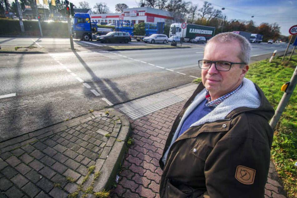 Thomas Hanke ärgert sich: An der Kreuzung A30/Ringstraße in Richtung Bad Oeynhausen kommt es regelmäßig zu Staus.