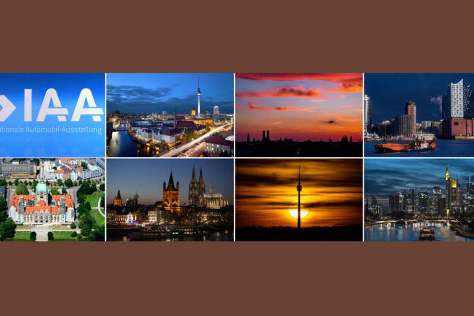 Berlin, München, Hamburg, Hannover, Köln, Stuttgart und Frankfurt am Main (v.o.l.b.u.r): Welche der sieben Messe-Städte gewinnt das Rennen um die IAA?