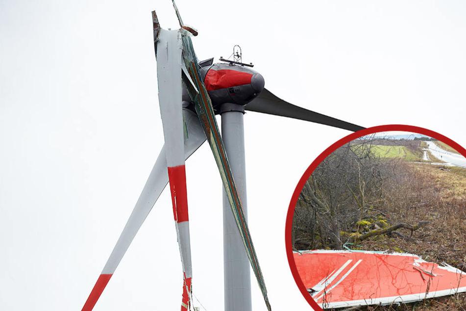 Sturmtief Bennet: Windrad-Flügel stürzt auf Autobahn