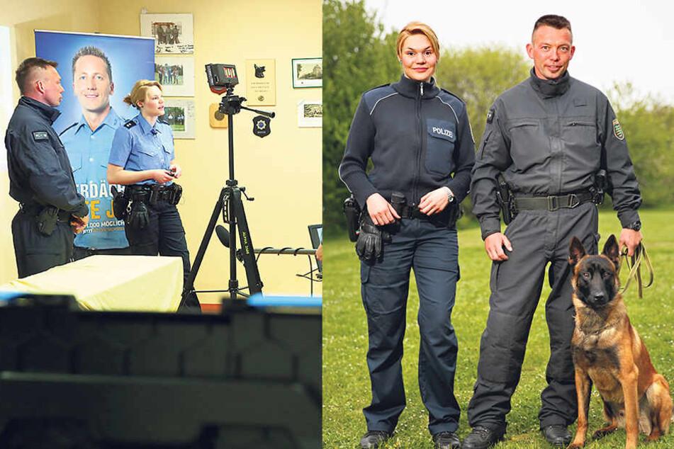 """Sie beantworteten die Fragen: Die Oberkommissarin und Berufsberaterin der Polizei in Chemnitz Julia Apel (27) und Hundeführer Carsten Böhm (39) mit """"Thor"""" (2)."""