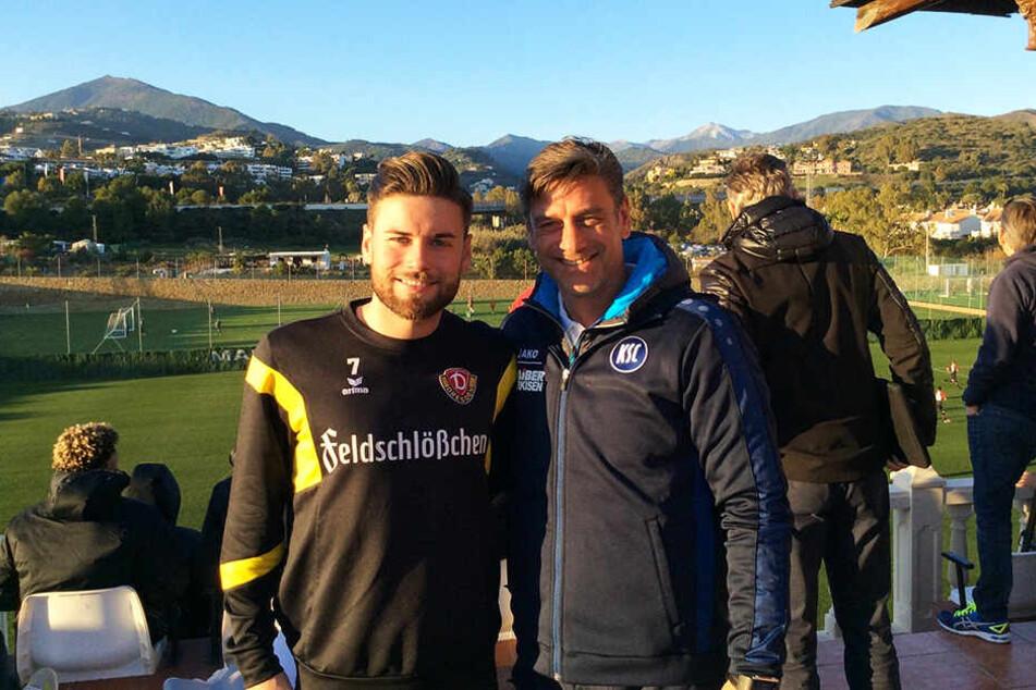 Niklas Kreuzer (l.) und sein Vater Oliver im Trainingslager 2017 in Marbella. Oliver Kreuzer ist Sportdirektor beim KSC.