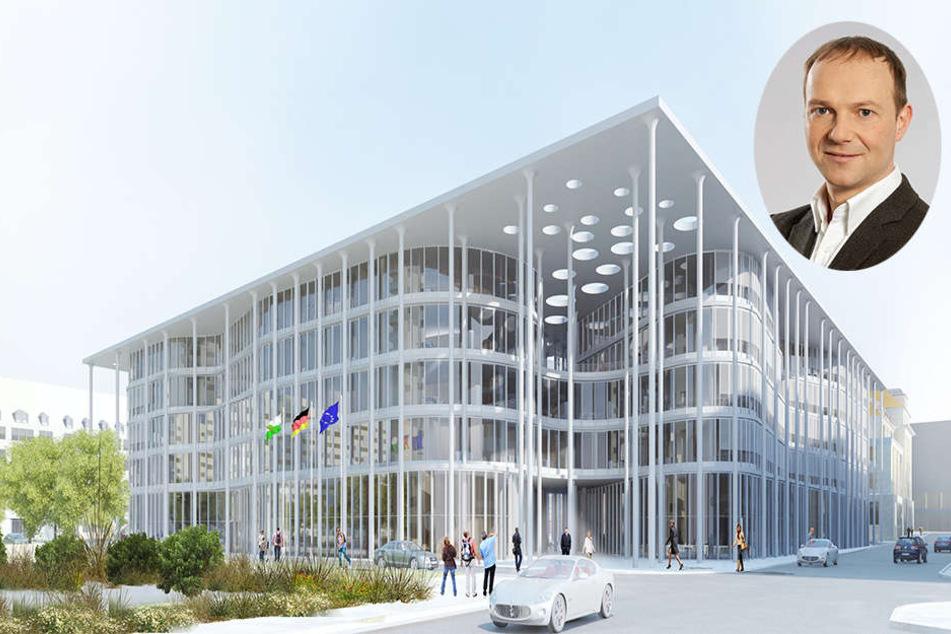 So soll der neue Hauptsitz der SAB in Leipzig aussehen. Der Grüne Wolfram Günther (rechts oben) kritisiert die hohen Baukosten.