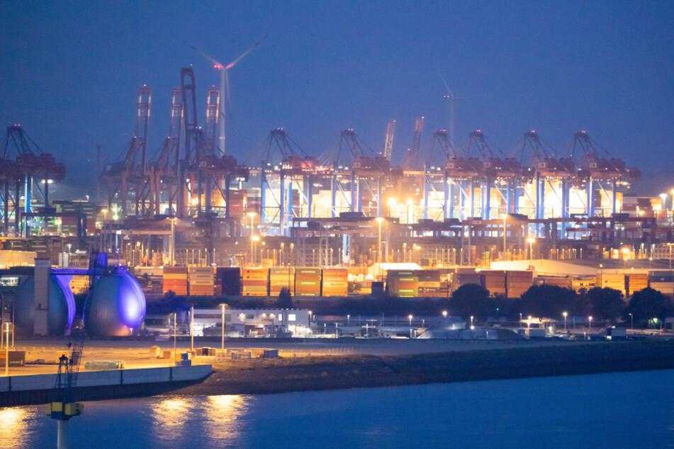 Der Hamburger Hafen ist durch Containerbrücken und zahlreiche Terminals geprägt.