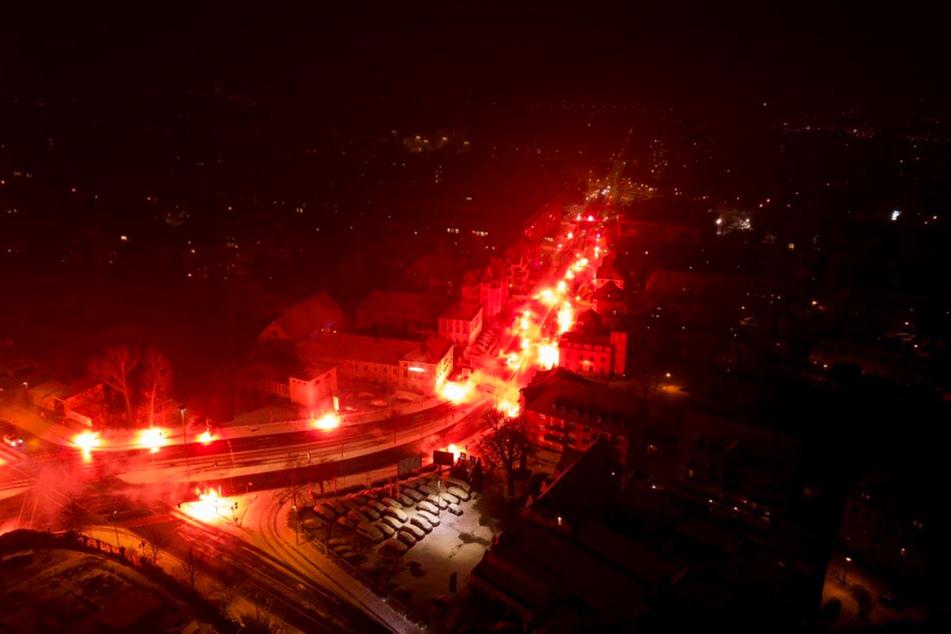 Die Dynamo-Fans inszenierten eine beeindruckende Pyroshow.