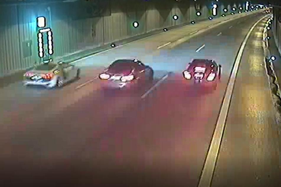 Überwachungskameras in einem Düsseldorfer Tunnel hatten Teile des illegalen Rennens aufgezeichnet.