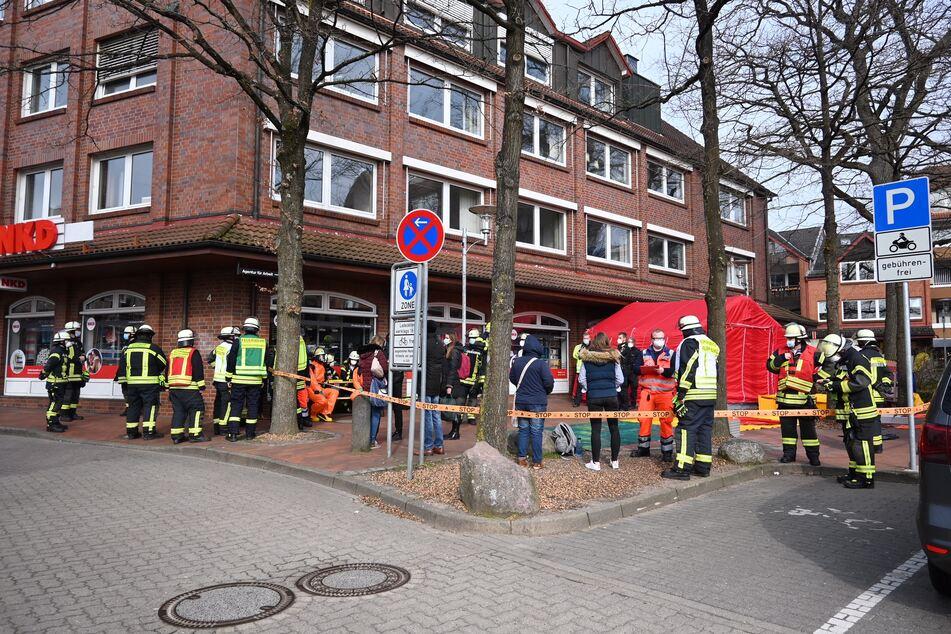Die Feuerwehr am Einsatzort.