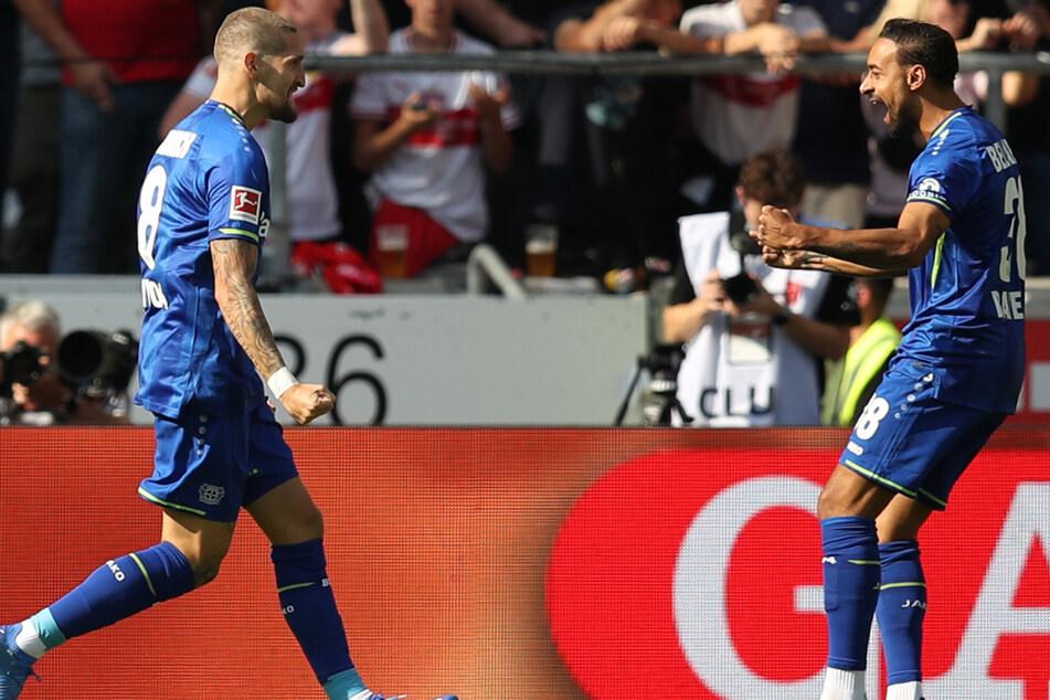 Frühe Führung! B04-Profi Robert Andrich (l.) bejubelt mit seinem Kollegen Karim Bellarabi (r.) seinen Treffer zum 1:0.