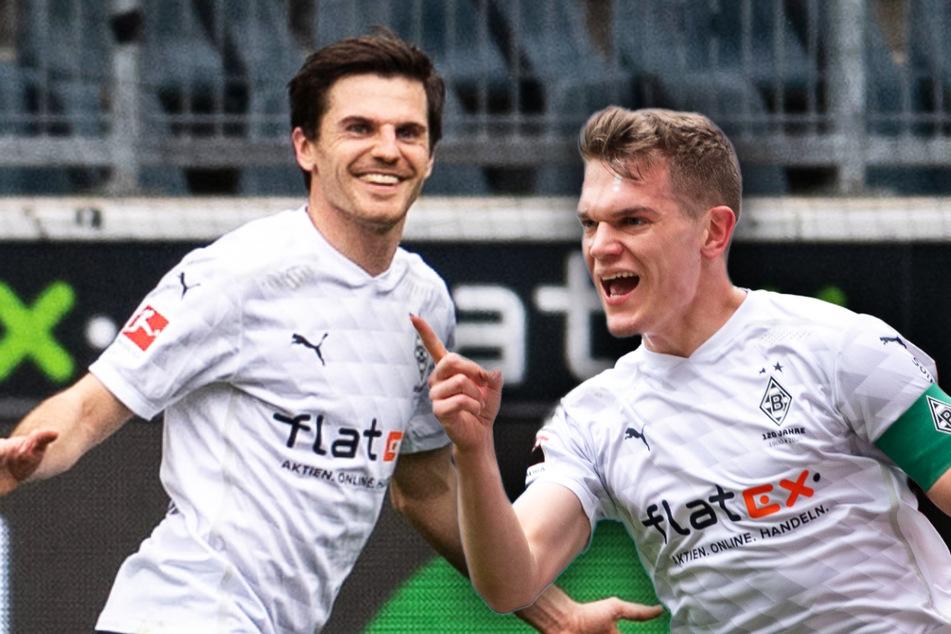 Matthias Ginter (27, r.) und Jonas Hofmann (29) bleiben Borussia Mönchengladbach erhalten.