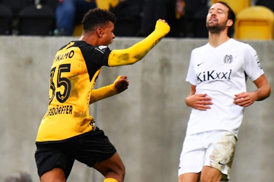 Die Faust geballt: Ransford Königsdörffer jubelt nach seinem ersten Liga-Treffer für Dynamo.