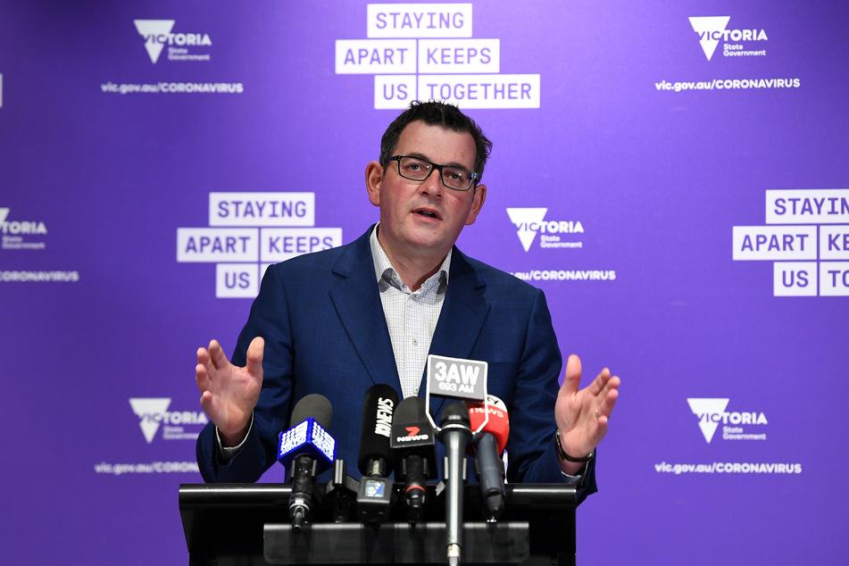 Daniel Andrews, Premierminister von Victoria, spricht bei einer Pressekonferenz.