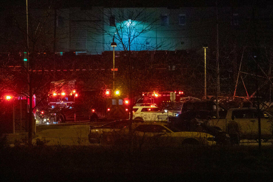 The scene outside a FedEx facility in Indianapolis where multiple people were shot late Thursday night.