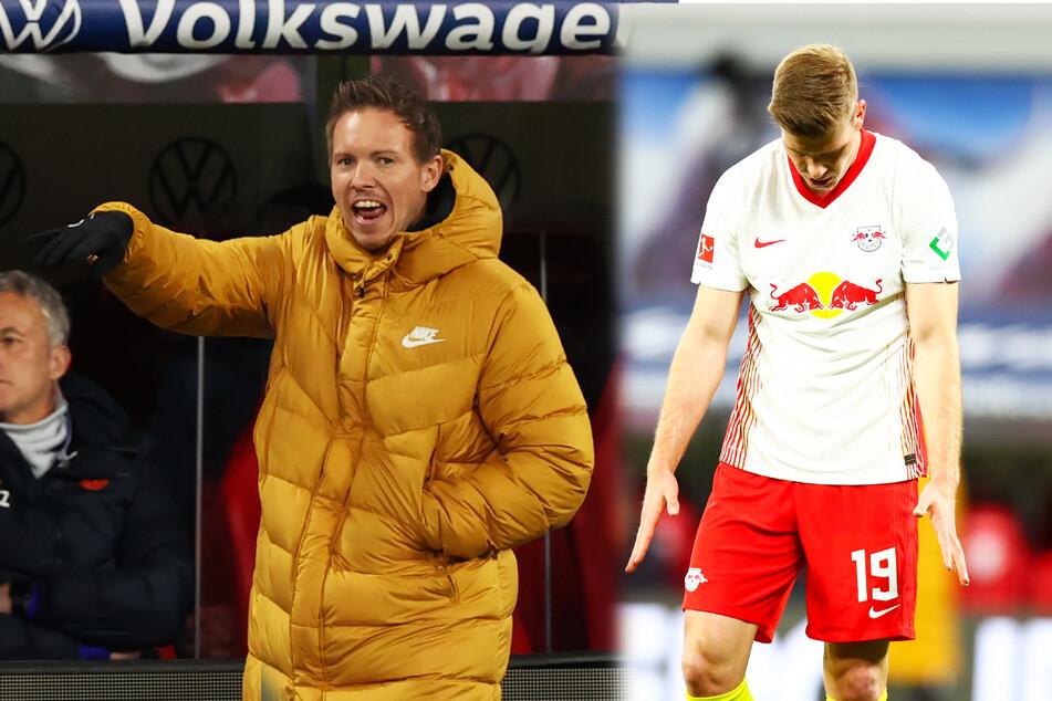 RB-Coach Julian Nagelsmann (l.) verzweifelte und schimpfte an der Seitenlinie regelmäßig. Auch Stürmer Alexander Sörloth konnte nach seiner Einwechslung keine Abhilfe schaffen.