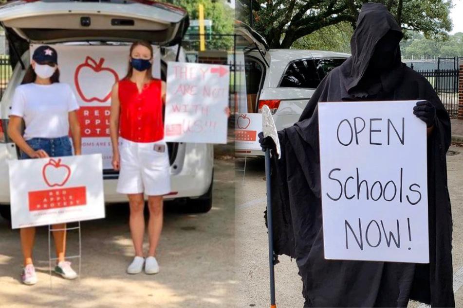 Makaber: Sensenmann demonstriert für Wiedereröffnung von Schulen