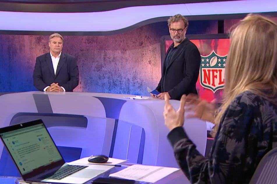 """NFL-Europe & UK-Chef Brett Gosper (l.) und """"ran""""-Sportchef Alexander Rösner (M.) stellten sich den Fragen der Community."""