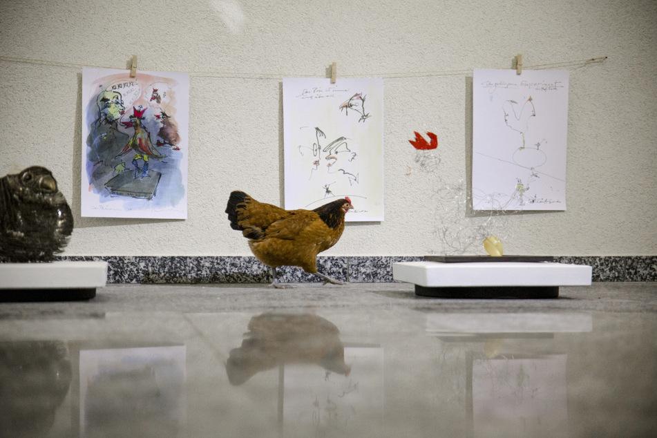 """Ein Huhn besucht die Vernissage der """"Rebel Art""""-Galerie."""