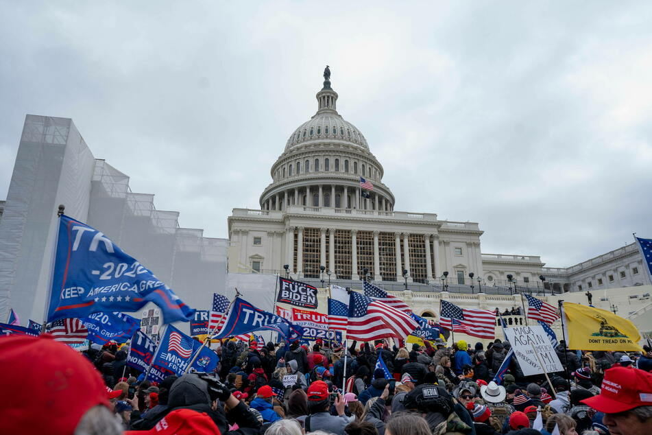 January 6: Trump supporters gather in front of the US Capitol before some of them forced their way inside.