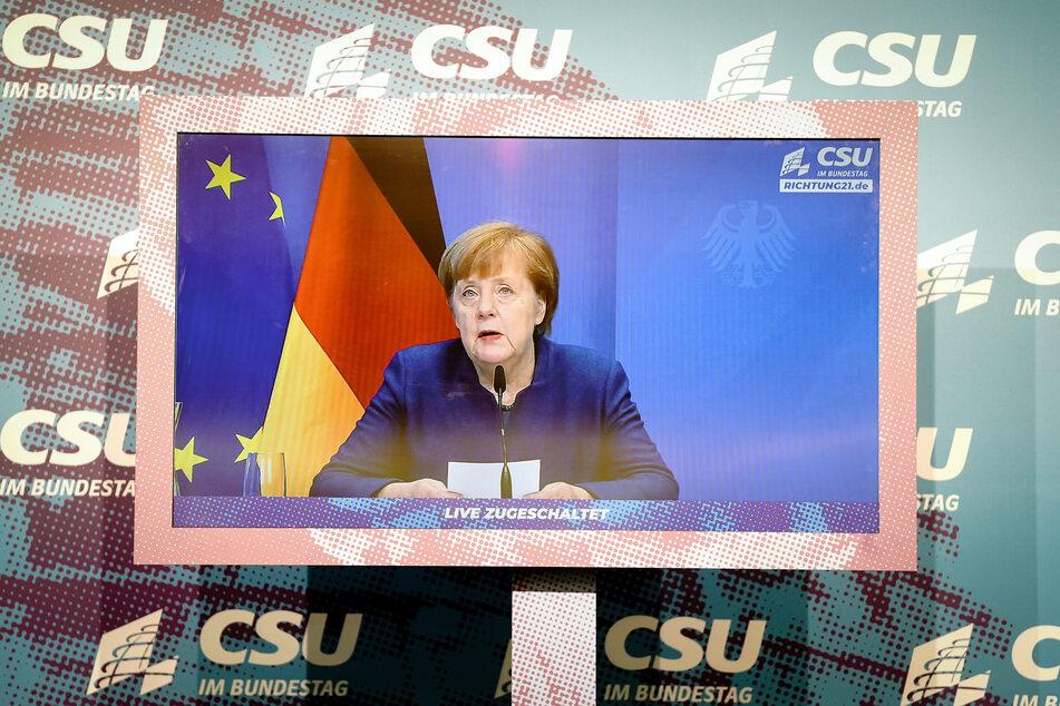 Kanzlerin Angela Merkel (66, CDU) bei einer Videokonferenz.