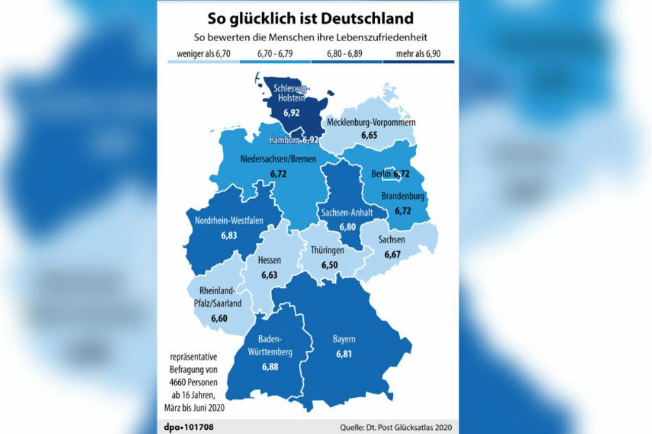 Die Karte zeigt die Lebenszufriedenheit der Menschen in Deutschland auf einer Skala von 0 bis 10.