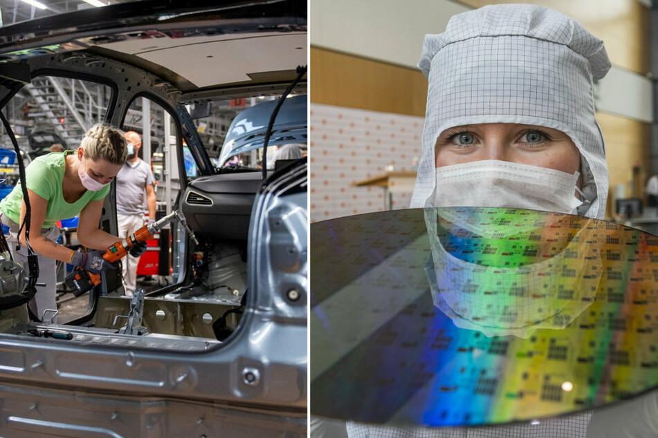 VW (l.) hat allein für den Umbau des Zwickauer Werks 1,2 Mrd. Euro ausgegeben. Globalfoundries legt für weitere Produktionskapazitäten in Dresden voraussichtlich rund 400 Mio. Euro an.