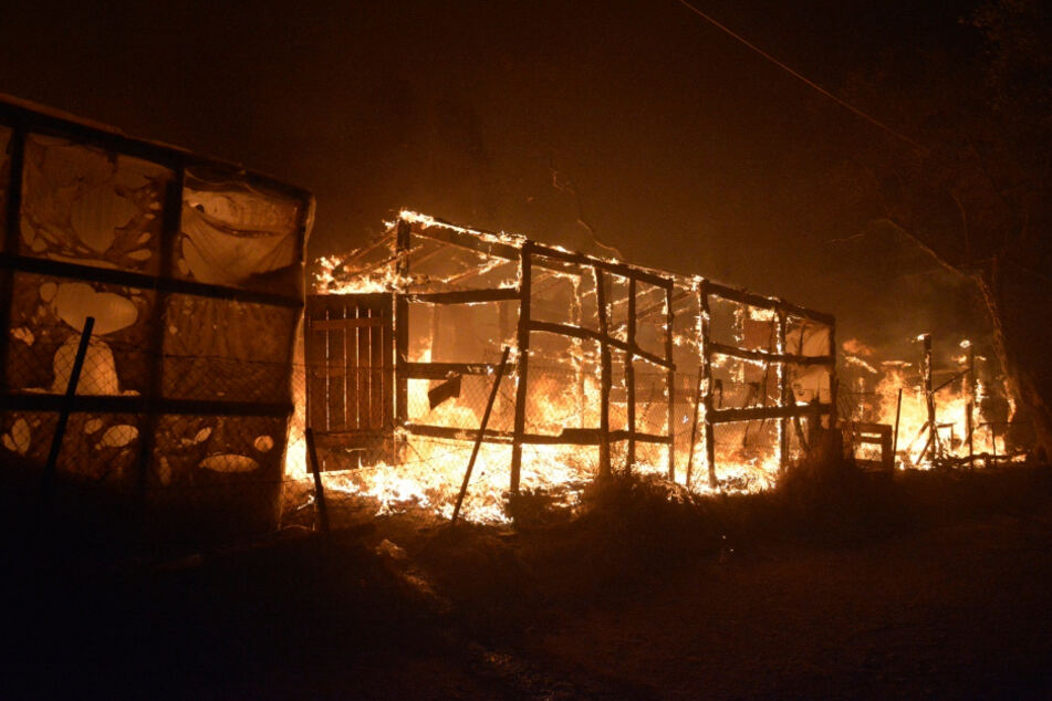 Tents and shelters burning in the fire at the refugee camp in Moria on the island of Lesbos.
