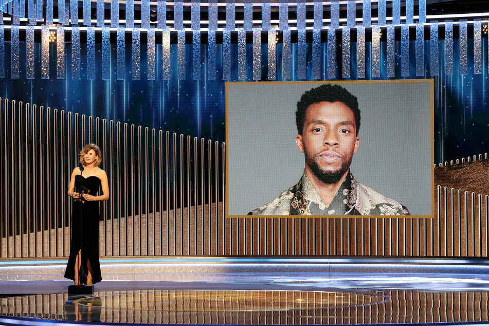Renee Zellweger announces the late Chadwick Boseman as winner of the Best Actor Motion Picture Drama award for Ma Rainey s Black Bottom.