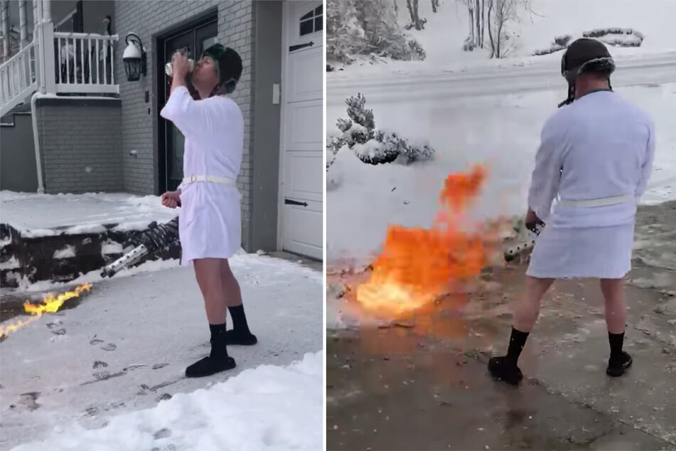 Kentucky man uses flamethrower to melt snow in his driveway