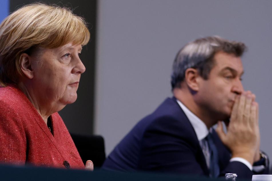 Merkel und Söder bei der PK.