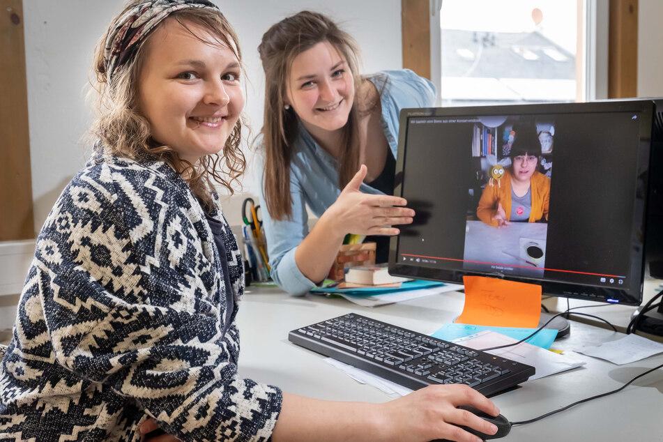 Bastelvideo für Kinder: Olga Schönfeld (30, l.) und Jessy Mehlhorn (28) wissen sich trotz Kontaktsperre zu helfen.