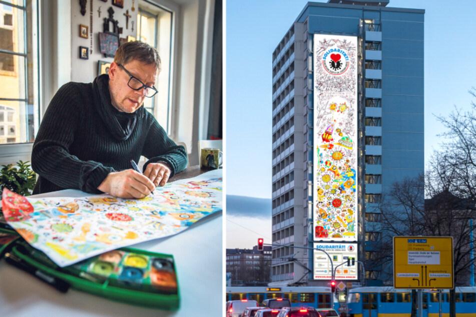 Corona-Kunst in der City: Riesen-Plakat soll Chemnitzern Mut machen