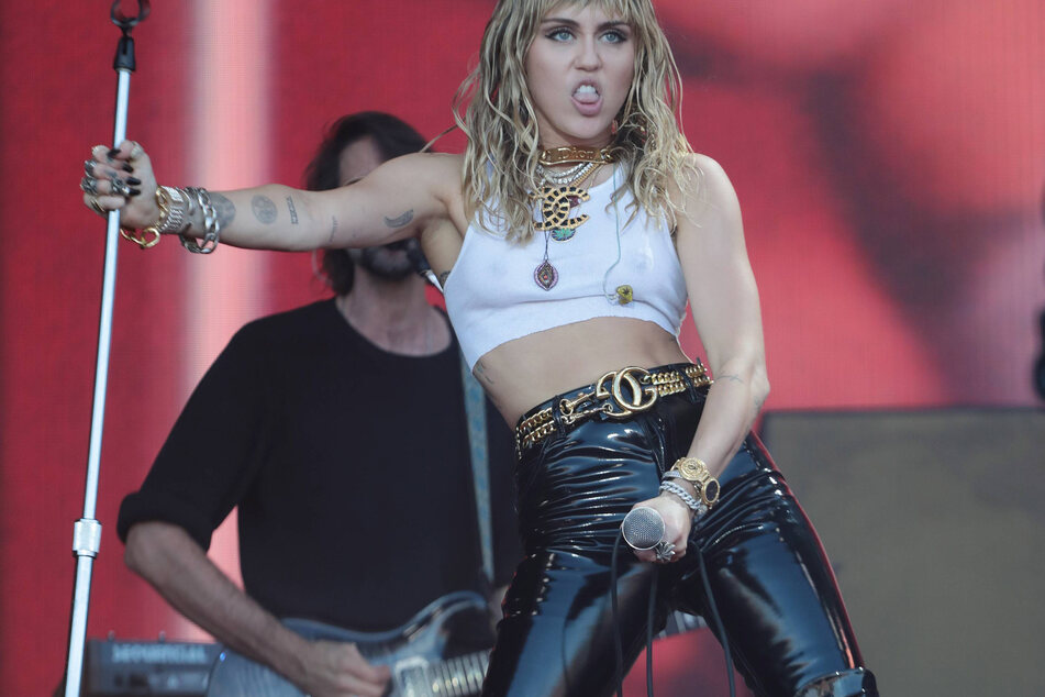 Miley Cyrus performing at the Glastonbury Music Festival in Somerset, England.