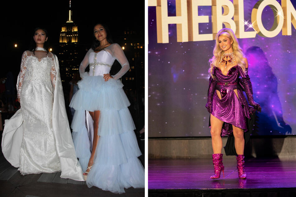 Designers like Marc Marlon (l.) got creative showcasing their clothing at outdoor rooftop venues. Paris Hilton (r.) walked the runway at The Blonds show, one of the week's final events.