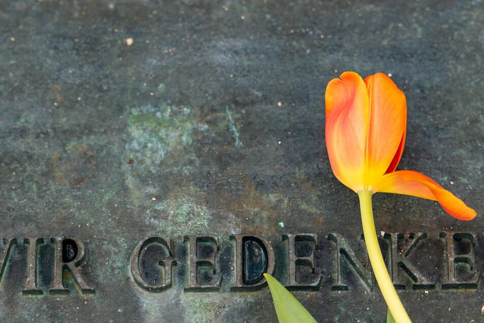 """""""Wir gedenken"""" steht unter anderem auf der Tafel auf dem Gelände des ehemaligen Konzentrationslagers Bergen-Belsen in der Lüneburger Heide."""