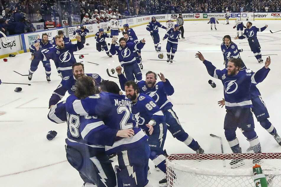 The Lightning celebrate their second-straight Stanley Cup championship, beating the Canadiens in five games, in July of 2021.
