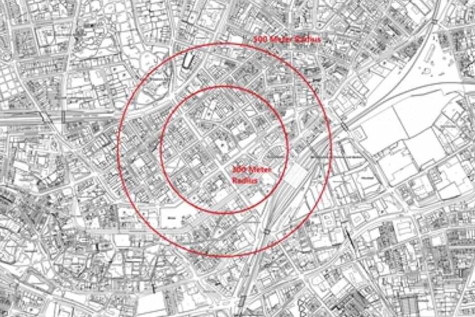 Der Radius von 300 Metern um die Bombe wird am Montagabend geräumt