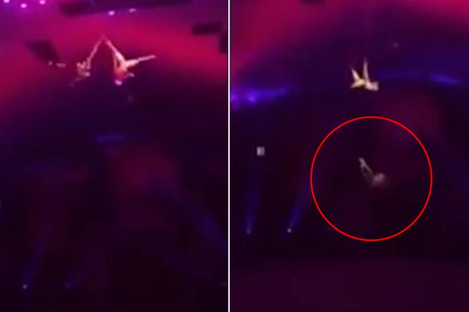 Panik im Zirkus-Zelt: Waghalsiges Kunststück in der Luft geht schief