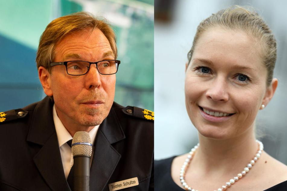 Leipzigs Polizeidirektor Torsten Schultze und Torgaus Oberbürgermeisterin Romina Barth trafen sich zum Gespräch.