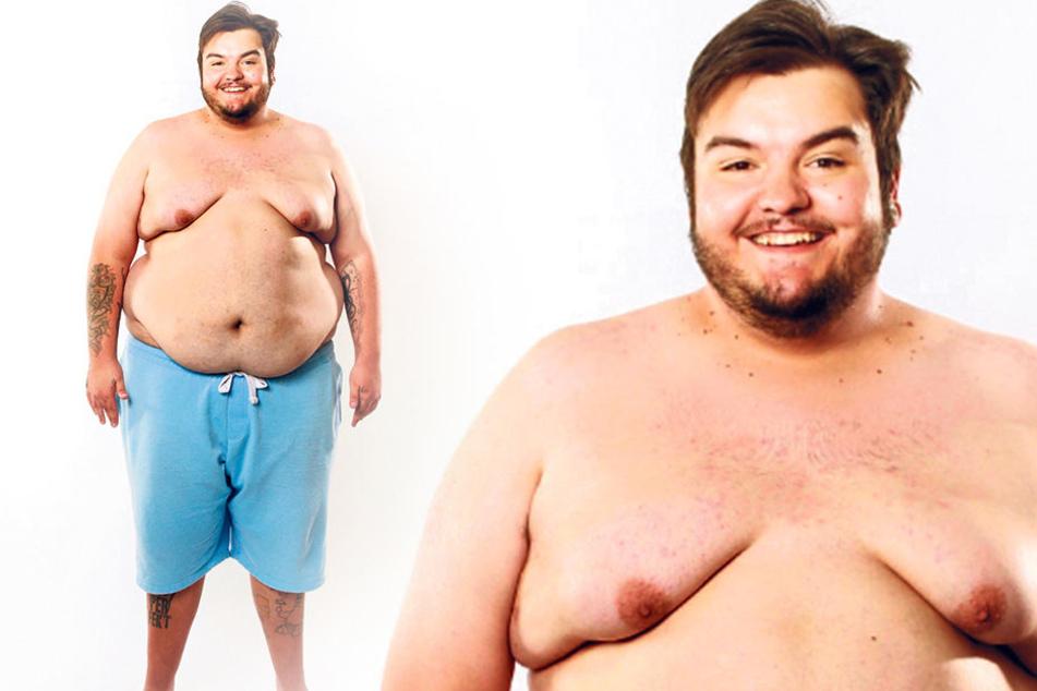 Jerôme aus Zittau zeigt mutig seinen 177-Kilo-Körper.
