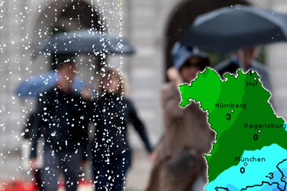 Die Woche in Bayern wird regnerisch. (Bildmontage)