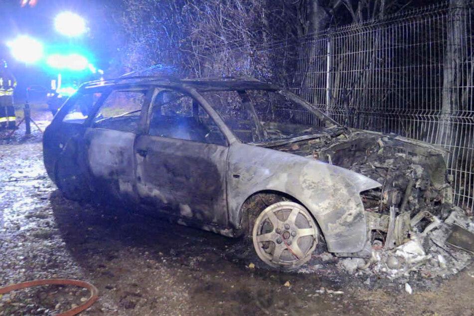 Das Feuer hatte bereits vom Audi A6 auf umstehenden Bäume und einen Zaun übergegriffen.