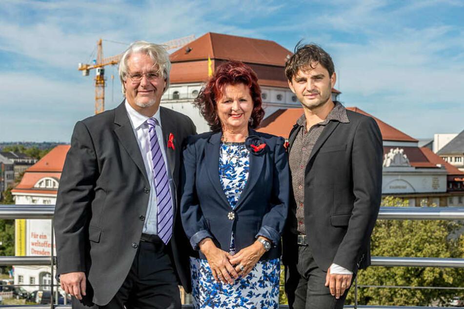 Viola Klein (57) freut sich auf diese Gäste: Peter Christian Feigel (50, l.) und Lenn  Kudrjawitzki (42).