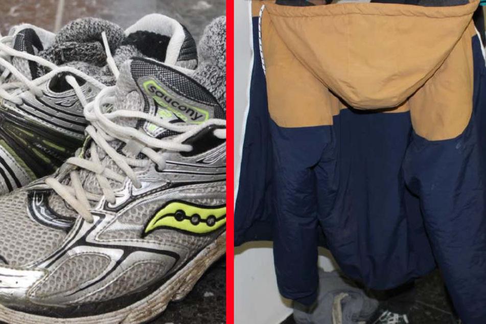 Schuhe und Jacke des Toten.