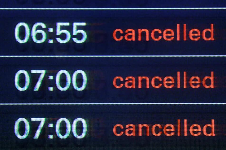 Die Anzeige verrät es bereits: Die Fluggesellschaften haben den Großteil aller Flüge von und nach Hamburg gestrichen (cancelled).