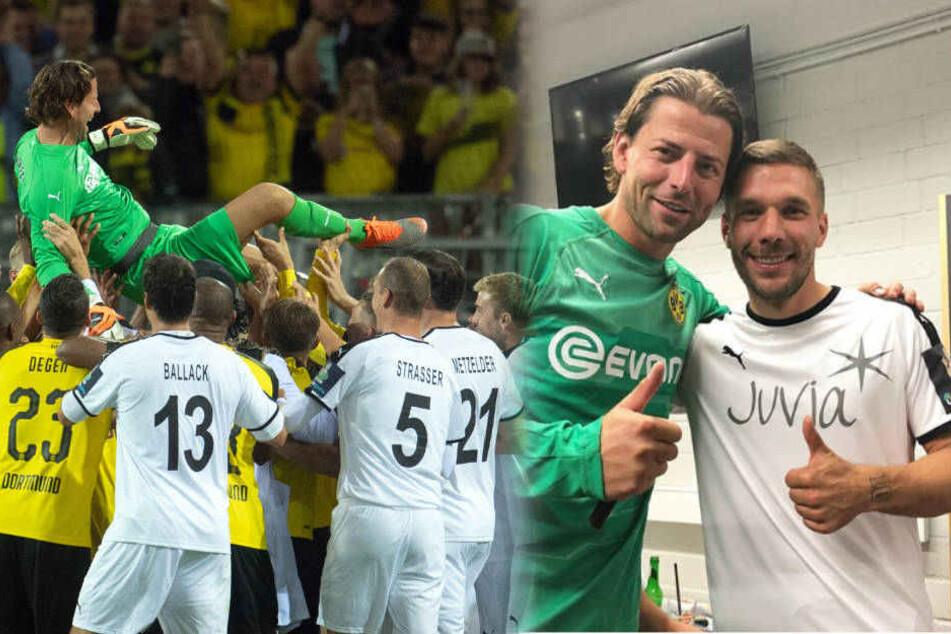 Poldi verabschiedet Kumpel Roman Weidenfeller mit 70.000 Fans